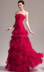 Tulle Mermaid Strapless Sweep Train Red Ball Dresses (NZJT06798)