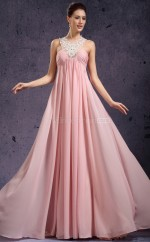 Chiffon A-line Halter Court Train Pearl Pink Ball Dresses (NZJT06800)