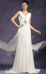 Ivory A-line V-neck Chiffon Long Ball Dresses (NZJT06805)