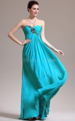 Chiffon A-line Sweetheart Sweep Train Turquoise Ball Dresses (NZJT06806)
