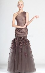 Brown Mermaid Floor-length Tulle One Shoulder Ball Dresses (NZJT06809)