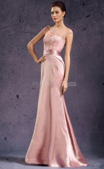 Stretch Satin A-line Jewel Sweep Train Pearl Pink Ball Dresses (NZJT06812)