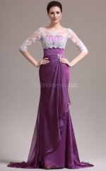 Chiffon Mermaid Jewel Sweep Train Grape Ball Dresses (NZJT06813)