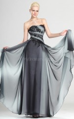 Multipatterned A-line Strapless Chiffon Long Ball Dresses (NZJT06815)