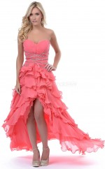 Watermelon Chiffon A-line Sweetheart Asymmetrical School Ball Gowns(NZJT06816)