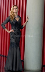 Chiffon Mermaid V-neck Floor-length Black Ball Dresses (NZJT06820)