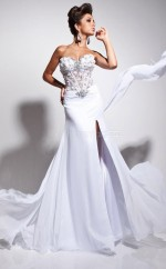 Chiffon Mermaid Sweetheart Watteau Train White Ball Dresses (NZJT06821)