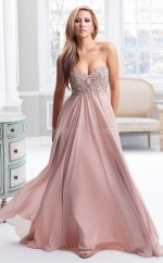 Chiffon A-line Sweetheart Sweep Train Nude Pink Ball Dresses (NZJT06824)