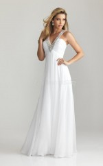 Chiffon A-line V-neck Sweep Train White Ball Dresses (NZJT06825)