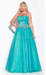Taffeta Pool Strapless Sleeveless Long Plus Size Bridesmaid Dress (NZPSD06-001)