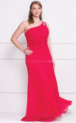 Sheath One Shoulder Floor-length Fuchsia Chiffon Plus Size Bridesmaid Dress (NZPSD06-005)