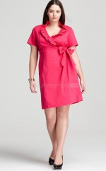 Knee Length Sheath Red Chiffon Plus Size Dresses With Sleeves(NZPSD06-011)