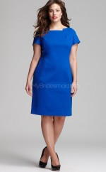 Satin Short Sleeve Knee Length Sheath Blue Plus Size Bridesmaid Dress (NZPSD06-018)