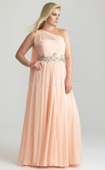 One Shoulder A Line Chiffon Floor Length Pink Plus Size Bridesmaid Dress (NZPSD06-020)