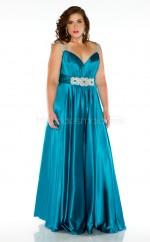 A-line Ocean Blue Stretch Satin Straps Long Plus Size Bridesmaid Dresses (NZPSD06-023)