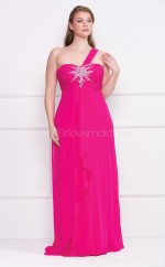 A-line Fuchsia Chiffon One Shoulder Long Plus Size Bridesmaid Dresses (NZPSD06-024)