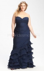 Mermaid Dark Navy Chiffon Strapless Long Plus Size Bridesmaid Dress (NZPSD06-031)