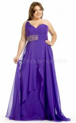 Chiffon A-line One Shoulder Sleeveless Long Plus Size Bridesmaid Dress (NZPSD06-038)