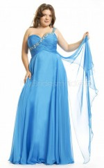 Chiffon A-line One Shoulder Sleeveless Long Plus Size Bridesmaid Dress (NZPSD06-039)