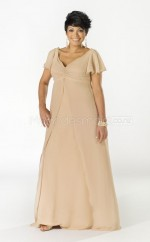 Chiffon A-line V-neck Short Sleeve Long Plus Size Bridesmaid Dress (NZPSD06-040)