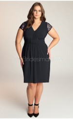 Chiffon Sheath/Column V-neck Short Sleeve Knee-length Plus Size Bridesmaid Dress (NZPSD06-042)