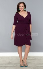 Knitwear Sheath/Column V-neck Half Sleeve Knee-length Plus Size Bridesmaid Dress (NZPSD06-047)