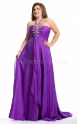 Chiffon A-line Halter Sleeveless Long Plus Size Bridesmaid Dress (NZPSD06-048)