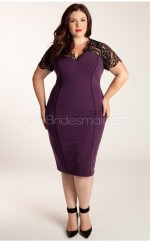 Knitwear,Lace Sheath/Column V-neck Short Sleeve Tea-length Plus Size Bridesmaid Dress (NZPSD06-051)