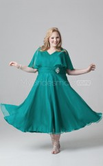 Chiffon A-line V-neck Short Sleeve Tea-length Plus Size Bridesmaid Dress (NZPSD06-052)