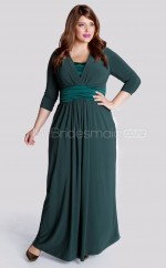Knitwear A-line V-neck 3/4 Length Sleeve Ankle-length Plus Size Bridesmaid Dress (NZPSD06-055)
