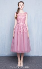 Modern Tea Length Scoop Nude Pink Lace , Organza A Line Ball Gowns NZTB06050