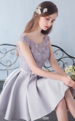 Elegant Light Silver Scoop Short A Line Lace , Satin Ball Gowns with Short Sleeves NZTB06051