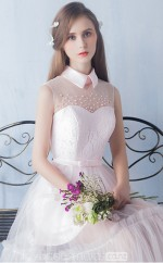 teenage High Collar Princess Lace Knee Length Pink Ball Gowns NZTB06060