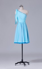 Short One Shoulder A Line Ligth Blue Chiffon Wholesale Clearance Price Bridesmaid Dress BD-NZS366