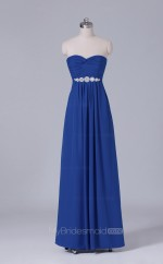 Royal Blue Long Sweetheart Neck Chiffon A Line Wholesale Clearance Price Bridesmaid Dress BD-NZS451