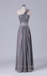 One Shoulder A Line Long Chiffon Gray Wholesale Clearance Price Bridesmaid Dress BD-NZS492