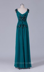 Light Ink Blue Chiffon A Line V Neck Long Wholesale Clearance Price Bridesmaid Dresses BD-NZS519