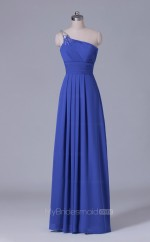 One Shoulder A Line Long Chiffon Blue Wholesale Clearance Price Bridesmaid Dress BD-NZS541