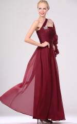 Burgundy Chiffon A-line One Shoulder Long Bridesmaid Dresses (NZBD06460)