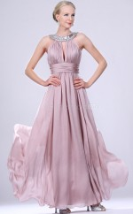 Lavender Chiffon A-line Jewel Long Bridesmaid Dresses (NZBD06468)