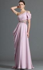 Lavender Chiffon A-line One Shoulder Long Bridesmaid Dresses (NZBD06475)