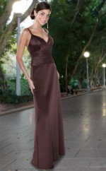 Brown Satin Mermaid V-neck Long Bridesmaid Dresses (NZBD06556)
