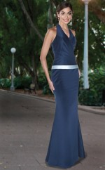 Ink Blue Satin Mermaid Halter Long Bridesmaid Dresses (NZBD06559)