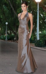 Silver Satin Mermaid Halter Long Bridesmaid Dresses (NZBD06561)