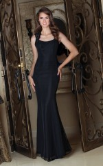 Black Satin Mermaid Straps Long Bridesmaid Dresses (NZBD06569)