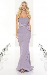 Lilac Chiffon Mermaid Sweetheart Long Bridesmaid Dresses (NZBD06803)