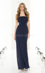 Dark Navy Chiffon A-line Strapless Ankle-length Bridesmaid Dresses (NZBD06824)