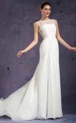 Empire waist Chiffon and Lace White Long Bridesmaid Dress NZJT061406