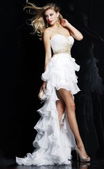 Chiffon A-line Sweetheart Asymmetrical White Ball Dresses (NZJT06549)