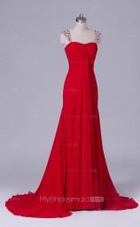 Red Chiffon Mermaid Straps Long Wholesale Clearance Price Bridesmaid Dresses BD-NZS513